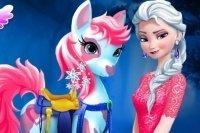 Elsa cuida del pony