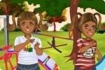Gemelas en el parque de juego